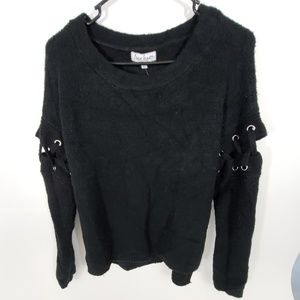 Lace up Stitched Sleeve Sweater Black Juniors S